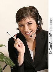 casque à écouteurs, travail, femme