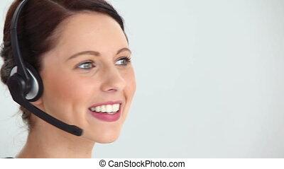 casque à écouteurs, utilisation, femme
