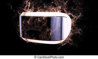 casque à écouteurs, virtuel, fond, résumé, réalité