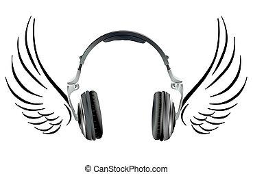 casque à écouteurs, voler, aile