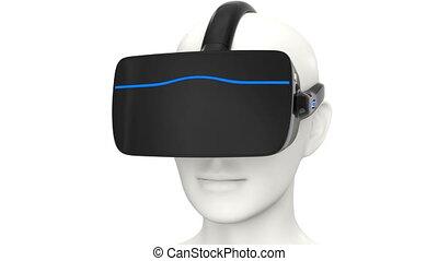 casque à écouteurs, vr, animation, 3d