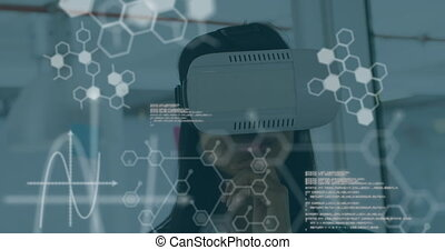 casque à écouteurs, vr, données, scientifique, fond, 4k, porter, femme