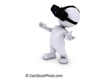 casque à écouteurs, vr, morph, homme