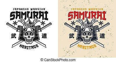 casque, épées, japonaise, crâne, samouraï