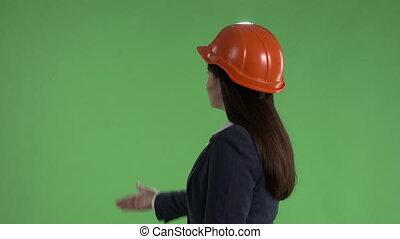casque, affaires femme, écran, haut, vert, pouces, approbation, sécurité, geste