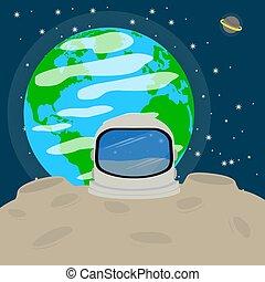 casque, astronaute, lune