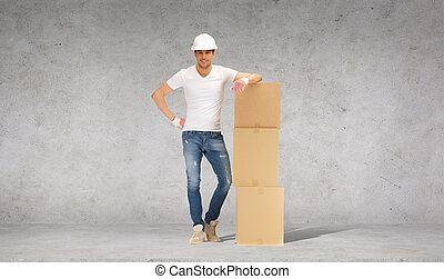 casque, boîtes, carton, tour, homme