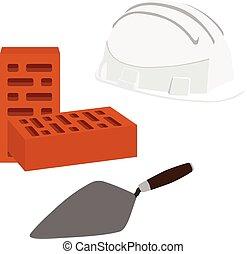 casque, brique, spatule
