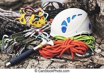 casque, carabiner, utilisé, marteau, -, corde, équipement,...