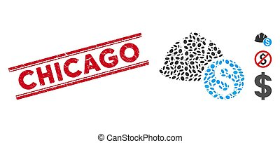 casque, chicago, ligne, coût, mosaïque, cachet, grunge, icône