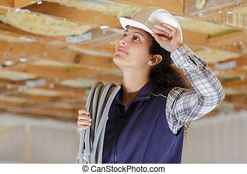 casque, constructeur, femme