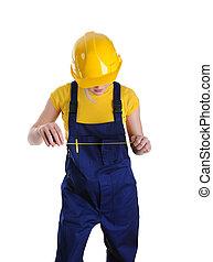 casque, constructeur, girl, jaune