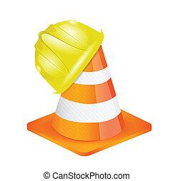casque, constructeur, ouvrier, illustration