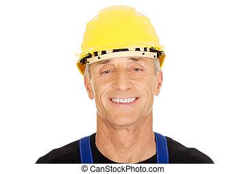 casque, constructeur, sécurité, sourire, portrait