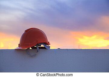 casque, construction, coucher soleil