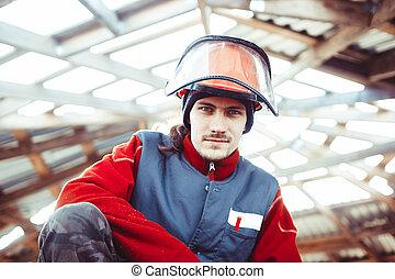 casque, construction, homme