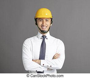 casque, construction, jeune, homme affaires