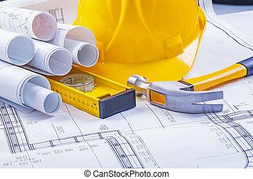 casque, construction, outils, modèles, marteau griffe, niveau, roulé