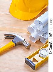 casque, construction, outils, modèles, marteau, niveau, composition