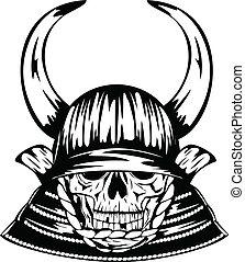 casque, cornes, crâne, samouraï