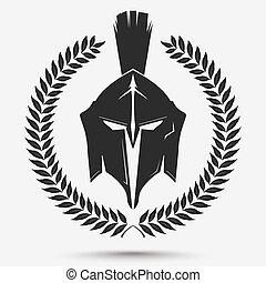 casque, couronne, gladiateur, laurier