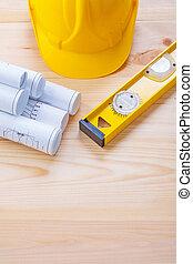 casque, courtiser, construction, outils, modèles, niveau, composition
