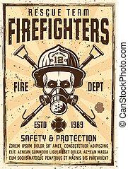 casque, crâne, pompier, masque gaz, affiche