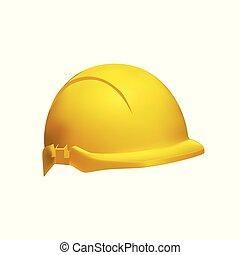 casque, dur, -, illustration, réaliste, sécurité, chapeau