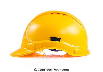 casque, dur, isolé, jaune, arrière-plan., sécurité, chapeau blanc