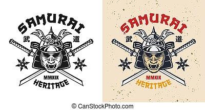 casque, emblème, épées, katana, masque, samouraï