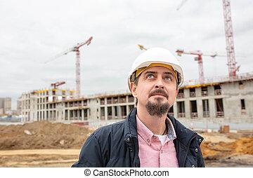 casque, emplacement travail, construction, architecte, plan., portrait