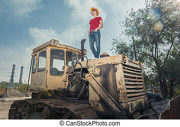 casque, engineer., femme, reposer, construction, tracteur