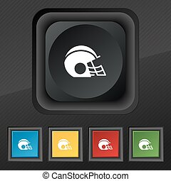 casque, ensemble, football, symbole., texture, coloré, boutons, vecteur, noir, élégant, cinq, icône, ton, design.