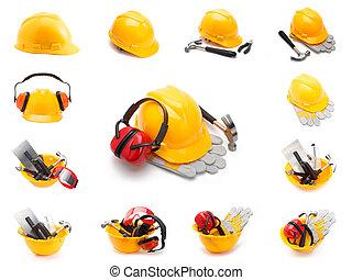 casque, ensemble, outils