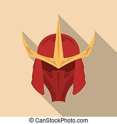 casque, eps10, plat, armure, long, samouraï, vecteur, illustration, ombre, design.