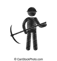 casque, exploitation minière, figure, pictogramme, hache, cueillir, dessin, homme