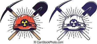 casque, exploitation minière, pelle, vendange, style, retro, cueillir, logo