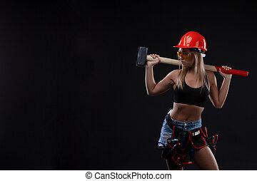 casque, femme, égalité, feminism., fonctionnement, tool., espace, sexe, construction, sécurité, séduisant, tenue, worker., orange, sexy, girl, copie, marteau