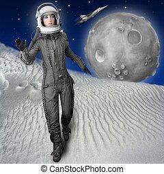 casque, femme, espace, mode, astronaute, stand, complet