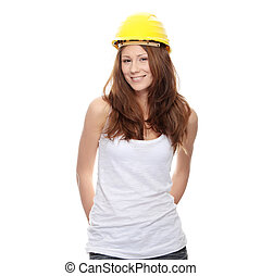 casque, femme, ingénieur, jaune