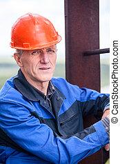 casque, fonctionnement, personnes agées, construction, portrait, caucasien, homme