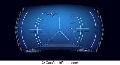 casque, futuriste, hud., réalité, vr, affichage lecture tête haute, vitrual, écran, avenir, sci-fi, technologie, design.