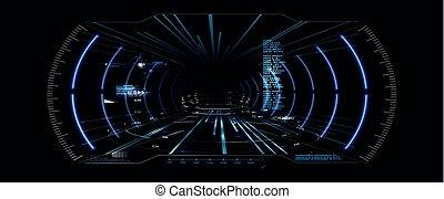 casque, futuriste, vr, affichage lecture tête haute, virtuel, reality., sci-fi, design., hud