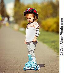 casque, girl, vieux, deux, patins, rouleau, année