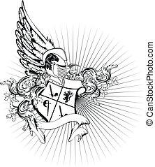 casque, héraldique, arms2, manteau