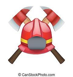 casque, haches, pompier