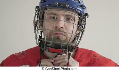 casque, hockey, porter, jeune, portrait, joueur, blanc, glace, backgroud