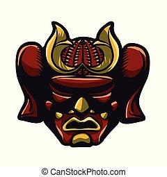 casque, illustration, rouges, samouraï