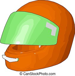 casque, illustration, vecteur, vert, motocyclette, fond, orange, blanc