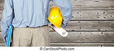 casque, ingénieur, blueprint.